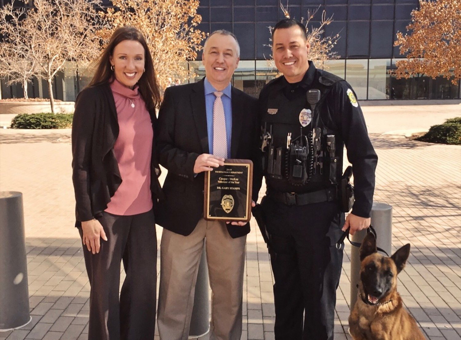 Dr. Gary Stamps was named Wichita Police Department's 2019 Volunteer of the Year Award for Animal Hospital at Auburn Hills' work with the WPD K-9 Unit.